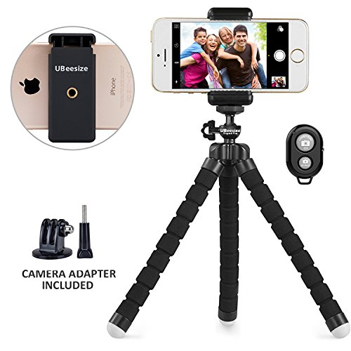 Phone tripod, UBeesize Portable and Adjustable Camera Stand Holder with Wireless Remote and Universal Clip for iPhone, Android Phone, Camera, Sports Camera GoPro from UBeesize