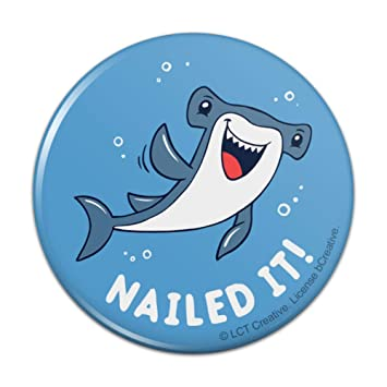 """5321d6021 Nailed It Hammerhead Shark Funny Humor Pun Compact Pocket Purse Hand  Cosmetic Makeup Mirror - 3"""""""