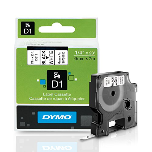 DYMO Standard D1 Labeling Tape for LabelManager Label Makers, Black print on White tape, 1/4'' W x 23' L, 1 cartridge (43613)