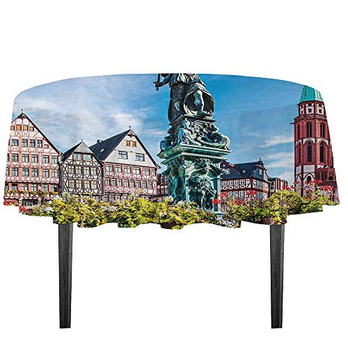kangkaishi European Printed Tablecloth Old City of Frankfurt Germany with Historical Buildings Statue Cityscape Scenery Desktop Protection pad D55.11 Inch Multicolor -