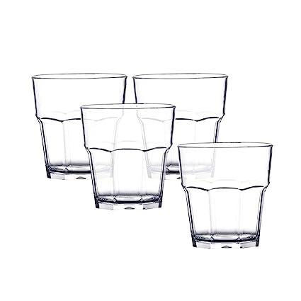 b716d5b9943 SNAGAROG 4 Pcs Plastic Drinking Glasses Beer Glass, Ikea Octagonal Shape  Plastic Tumblers, 300ml