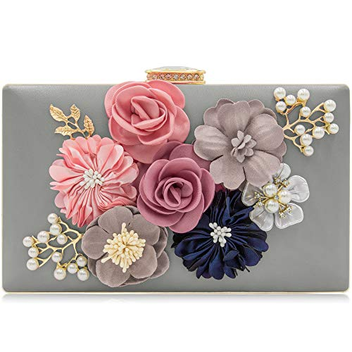 Milisente Evening Bag Clutches purse for Women, Floral Clutch Evening Shoulder Bags, Wedding Crossbody Handbags (Gray)