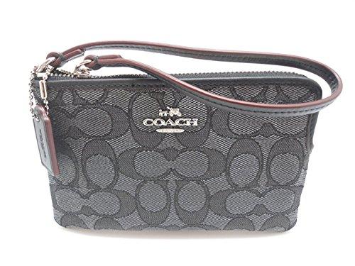 Coach C Signature Logo Wristlet Hand Bag Purse Outline Smoke Gray Black