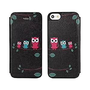 Flyshell Cute Owl Design Slim Side Flip Leather Pouch Back Case Cover For Apple iPhone 5 / 5S