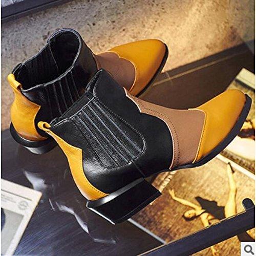 stivaletti Chunky casual Comfort stivali Inverno Giallo abbigliamento di Autunno Babbucce tallone Scarpe Nero donna HSXZ Yellow pu punta qx60PnF