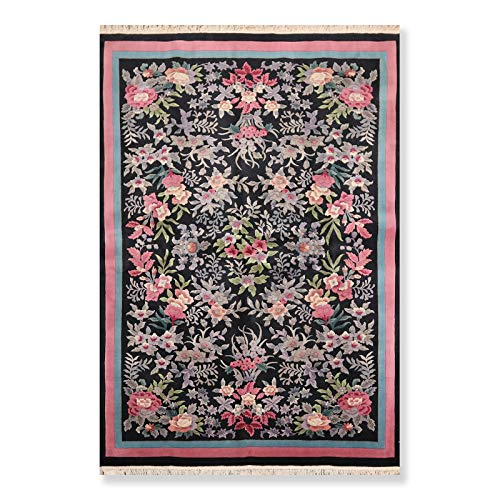 6'x9' Black Rose Blue, Grey, Lavender, Green, Multi Color Hand Knotted French Aubusson Oriental Area Rug Wool Traditional Superfine Thick Pile French Aubusson Design Oriental Rug - ORH11172
