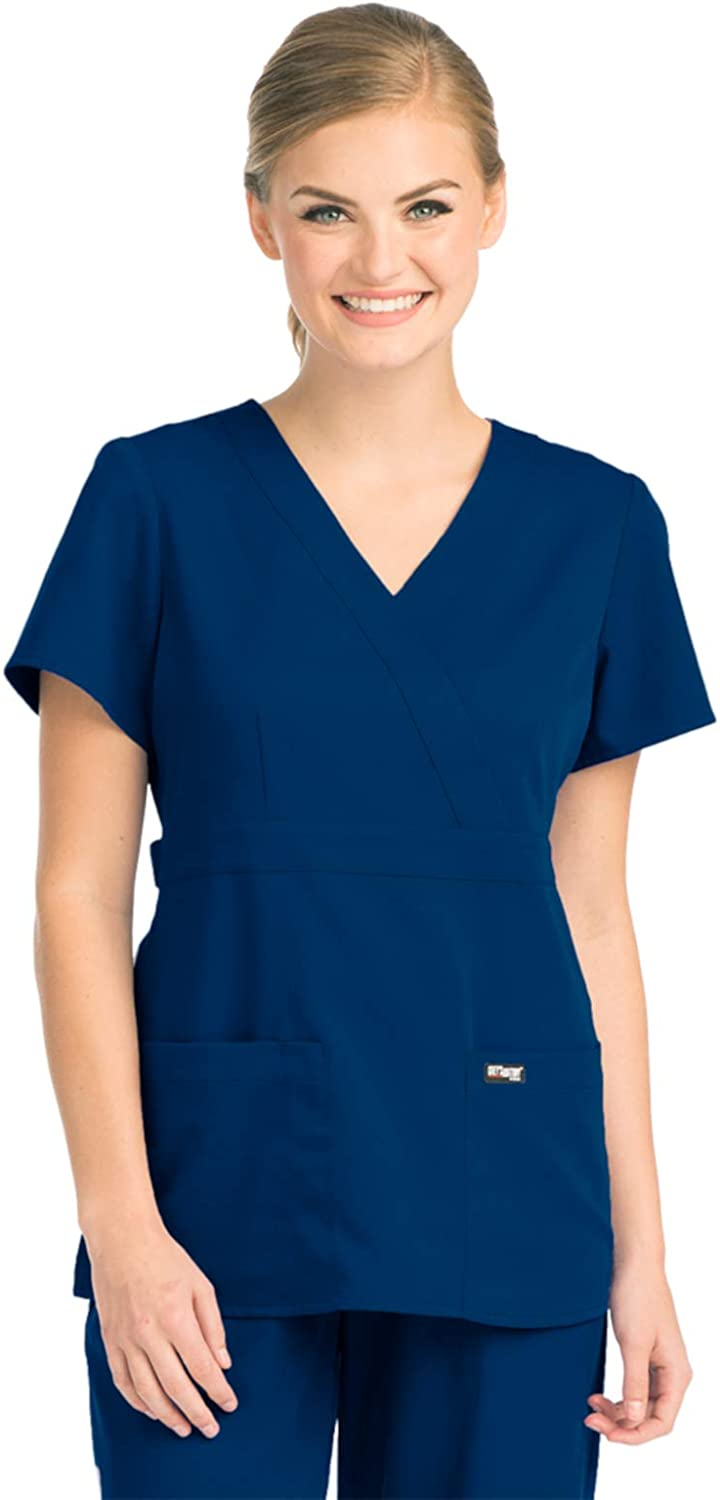 Grey's Anatomy Women's 4153 Junior-Fit Three-Pocket Mock-Wrap Scrub Top, Indigo, Medium: Medical Scrubs Shirts: Clothing