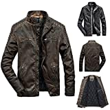 Long Rain Coats for Men with Hood. Fashion Men's Autumn Winter Casual Pocket Zipper Thermal Leather Jacket Top Coat