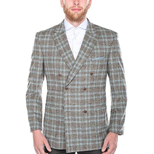 Peacoat Jacket Blazer (Chama Men's Plaid Double Breasted Peak Lapel Wool Blazer Pea Coat (Brown, 52L))