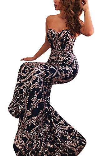 Yissang Women's Off Shoulder Floral Sequined Sparkle Party Evening Cocktail Mermaid Maxi Long Dress Prom Gowns