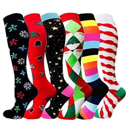 Compression Socks For Men & Women - 3/6 Pairs - Best Sports Socks for Running,Nurses,Sports,Flight Travel- 20-25mmHg (Small/Medium, Mix of Colors-6(6 Pairs)) -