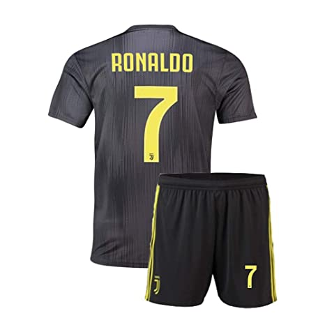 5805b781e Claysydo Youth Ronaldo #7 Juventus Boys FC Away Jersey Kids Shorts 2018/19  Soccer