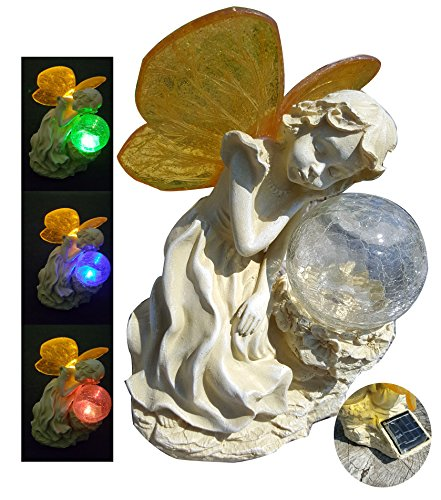 Color Changing Crackle Glass Ball Solar Light - 7