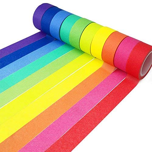Piokio Rainbow Washi Tape 15mm Wide Set of 10 Rolls, Solid Colored Tape for DIY Mother's Day Gifts - Multi Star Coloured