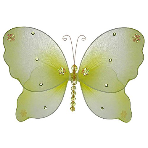 - The Butterfly Grove Emily Butterfly Decoration 3D Hanging Mesh Organza Nylon Decor, Yellow Daffodil, Small, 5