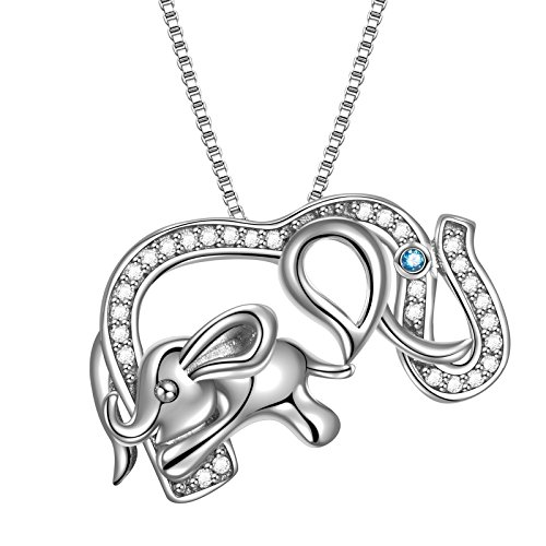 Angemiel 925 Sterling Silver Mom and Baby Elephant Crystal Lucky Animal Pendant Necklace, 18
