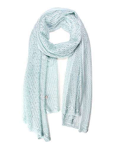 Womens Oblong Cotton Mesh Crochet Scarf - Green Crochet Scarf