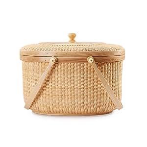 Teng Tian Handmade Rattan Picnic Basket with Hardwood Walnut Lid and Base