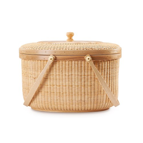 Teng Tian Handmade Rattan Picnic Basket with Hardwood Walnut Lid and (Cypress Basket)