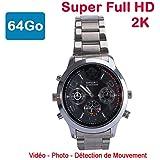 Cyber Express Electronics, orologio con mini telecamera spia da 64GB 2K Super Full HD 2304x 1296 p, rilevamento di movimento CEL-DWF-74S-64