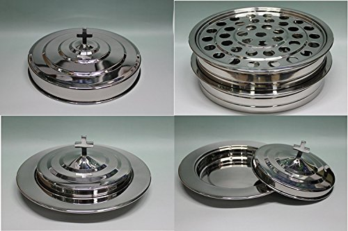 Silvertone  2 Stainless Steel Communion Trays With 1 Lid And 2 Bread Tray Set