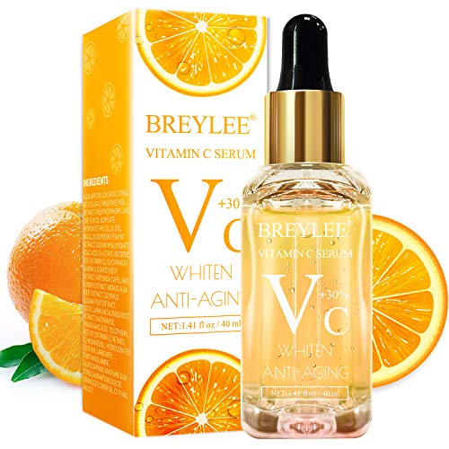 Vitamin C Serum, BREYLEE Anti-Aging Facial Serum with Hyaluronic Acid, Retinol, and Vitamin E Moisturizing Face Serum for Skin Whiten Skin Brighten, Fades Sun Spots (40ml, 1.41oz)