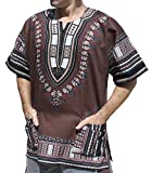 Cheap Raan Pah Muang Unisex African Bright Dashiki Cotton Shirt Variety Colors, XX-Large, Cafe Noir Brown