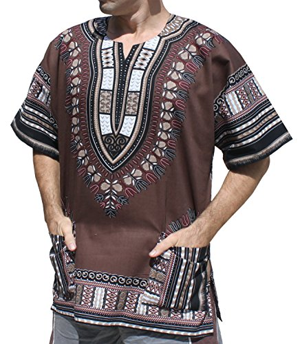 Raan Pah Muang Unisex African Bright Dashiki Cotton Shirt Variety Colors, XX-Large, Cafe Noir Brown
