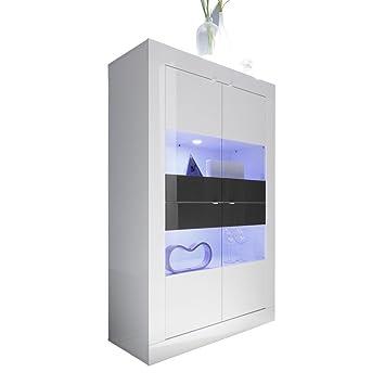 montefiore design moderne vitrine 4 tren aus glas und holz zweifarbig lackiert wei und anthrazit glnzend