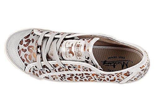 154f46ba1d49 Mustang 1099-315 Schuhe Damen Schnürer Sneaker Canvas silber Braun ...