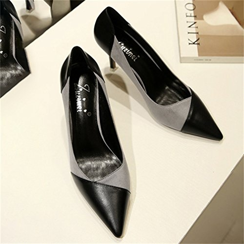 Fashion Ladies Toe Pointe Color Gris Blocking Shoes High Mosaic Heel Womens Xianshu Court faqR55