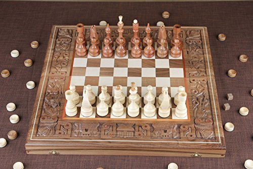 A Set of Brown Handmade Wooden Checkers and Backgammon Board Game with Accessories -Portable Travel Folding Carved Suitcase with Playing Pieces by Mad…