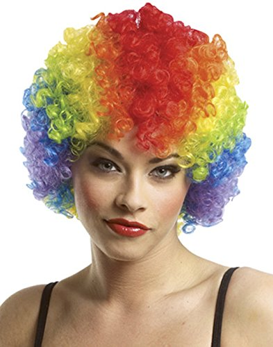 Costume Culture Women's Rainbow Clown Afro Wig, Rainbow, One (Afro Rainbow Wig)