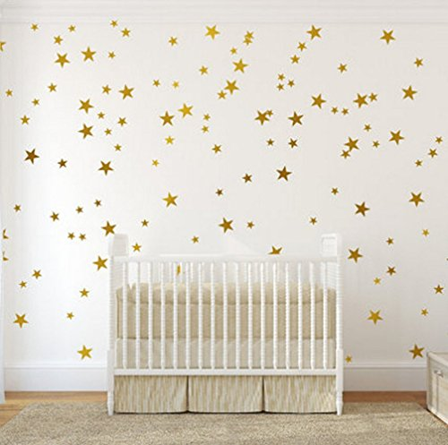 Gold Wall Decal Stars  | Easy to Peel Easy to Stick + Safe o