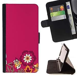 For Sony Xperia M4 Aqua Case , Flores minimalista Pétalo púrpura- la tarjeta de Crédito Slots PU Funda de cuero Monedero caso cubierta de piel