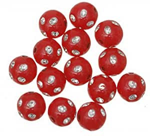 EOZY 220pcs/100g 10mm Rhinestone Crystal Embedded Acrylic Round Spacer Beads DIY Craft Jewellery Making (Red)