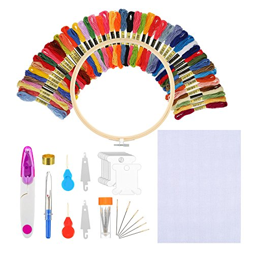 Bememo Embroidery Starter Kit Cross Stitching Sewing Kit Includes 9 Inch Bamboo Embroidery Hoop, 50 Color Threads, 12 by 18 Inch Classic Reserve Aida and Cross Stitching Tool Kit (Case Bobbin Threading)