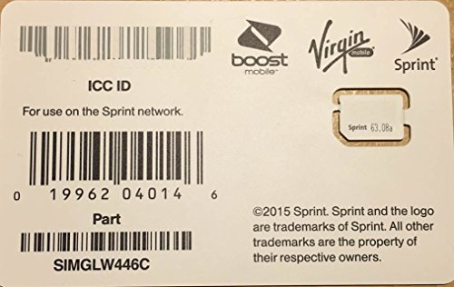 Sprint Boost Virgin Mobile Nano SIM Card ICCID SIMGLW446C (Nano Sim Sprint For Card)