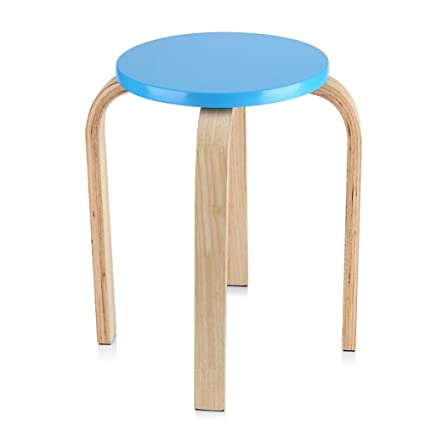 Enjoyable Gototop Wooden Round Stool Anti Slip Bent Wood Stacking Stool Sturdy Stool Chair With 4 Legs Candy Color Wooden Small Round Table Stools For Home Theyellowbook Wood Chair Design Ideas Theyellowbookinfo