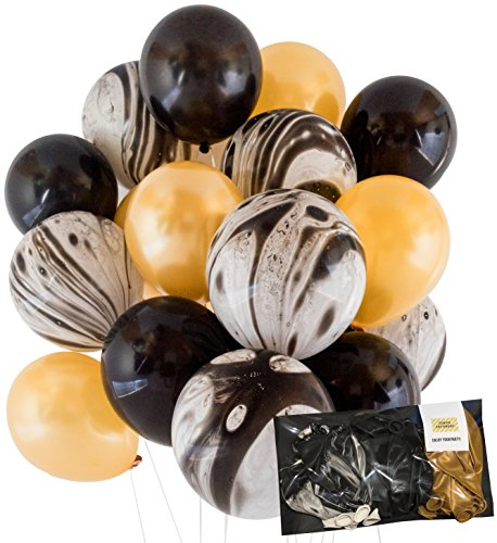 Modern Gold and Black Agate Mix Latex Party Decoration Marble Balloon 30pc Thick 12