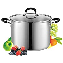 Cook N Home 02440 Stockpot Saucepot with Lid Induction Compatible, 8-Quarts, Metallic