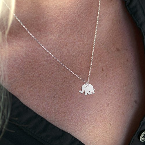 """Elephant Necklace, A Sterling Silver Elephant Necklace, 5/8"""" Elephant Jewelry, 18"""" Chain - Cute Animal Necklace Charm, Lucky Elephant Pendant"""