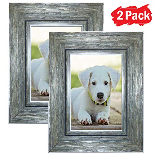 DY Frame 5x7 Picture Frame Vintage Green-Gray Rustic Home or Office Decor | Vertical or Horizontal Tabletop Stand or Wall Mounting | Baby, Pet, or Family Photos, Diploma