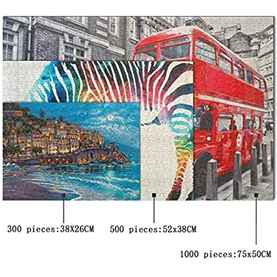 Cjdeng Jigsaw Puzzles 500 Pieces for Adults Kids Landscape City Wooden Puzzles Educational Games Toys for Children Animation Pairing Puzzles Gift: Toys & Games