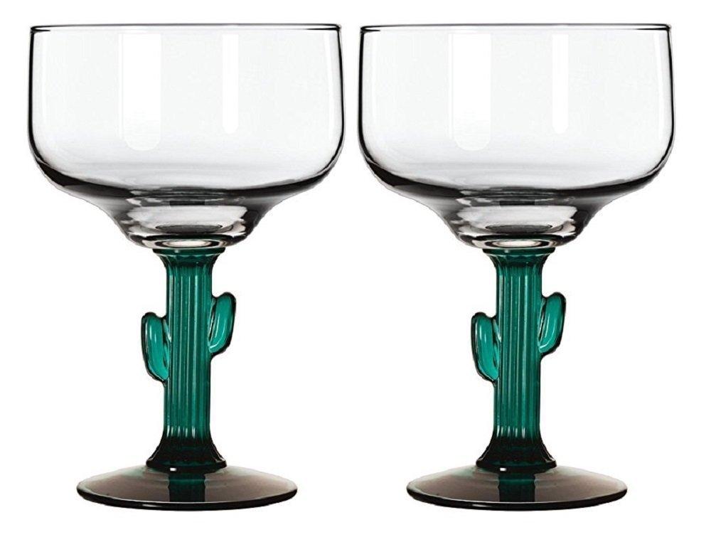 Margarita Glasses W/Cactus Green Decor Stem Lot Of Two 16 oz New NA