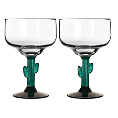 Margarita Glasses W/Cactus Green Decor Stem Lot Of Two 16 oz New