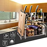 Yummy Sam Spice Rack, Spice Holder with Cutting Board Lid Rack Shelf and Knife Block, A Cutting Board Rack is Included