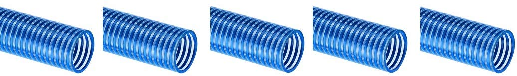 100 feet Length Clear//Blue 5 BW200X100 Tigerflex Water BW Series PVC Low Temperature Suction Hose 2 inches ID 90 PSI Max Pressure