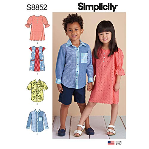 Simplicity US8852A Pattern S8852 Child's Dresses and Shirt, A (A (3-4-5-6-7-8)