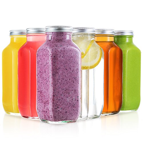 16 Oz Glass water bottle - 6 Pack Reusable Glass Bottles with Metal Lids for Juicing, Kombucha, and other beverages - Quality Food Safe Material